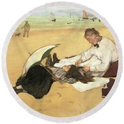 Beach Scene Little Girl Having Her Hair Combed By Her Nanny Round Beach Towel by Edgar Degas