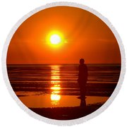 Beach Sculpture At Crosby Liverpool Uk Round Beach Towel