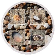 Beach Shells And Rocks Collage Round Beach Towel