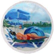 Beach Siesta Round Beach Towel