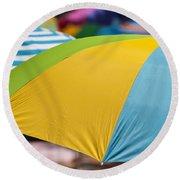 Beach Umbrella Rainbow 1 Round Beach Towel