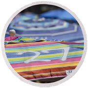 Beach Umbrella Rainbow 4 Round Beach Towel