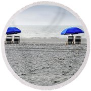 Beach Umbrellas On A Cloudy Day Round Beach Towel by Thomas Marchessault