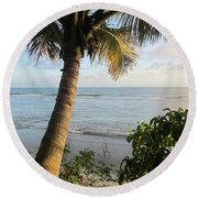 Beach Under The Palm 4 Round Beach Towel