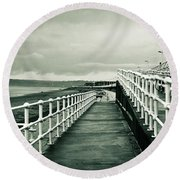 Beach Walkway Round Beach Towel by Tom Gowanlock