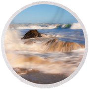 Beach Waves Smoothly Flowing Over The Rocks Fine Art Photography Print Round Beach Towel