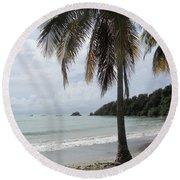 Beach With Palm Tree Round Beach Towel