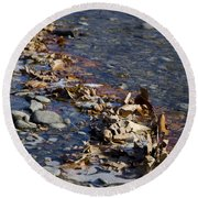 Beach With Stones Round Beach Towel
