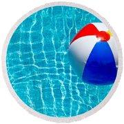 Beachball On Pool Round Beach Towel
