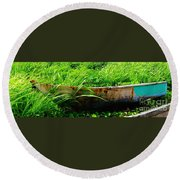 Beached Boat Round Beach Towel
