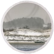 Beached Boat Winter Storm Round Beach Towel