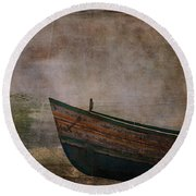 Beached Dinghy Round Beach Towel