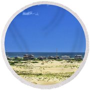 Beachouses As Seen From Jockey's Ridge State Park Round Beach Towel