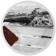 Beachside Warning Horizontal Bw With Colorized Red Sign Round Beach Towel