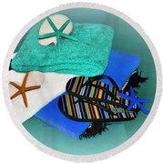Beachy Things - Aqua Blue Round Beach Towel