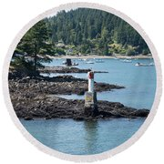Beacon At Snug Cove Round Beach Towel