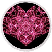 Beaming Heart Round Beach Towel