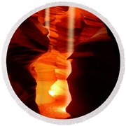 Beams Of Light In Antelope Canyon Round Beach Towel