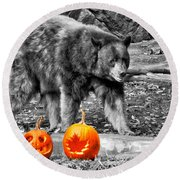 Bear And Pumpkins Too Round Beach Towel