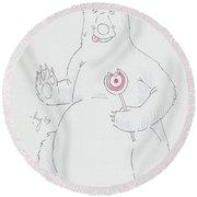 Bear Cartoon Round Beach Towel