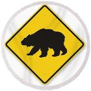 Bear Crossing Sign Round Beach Towel
