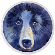 Bear Face Round Beach Towel