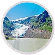 Bear Glacier Near Stewart-british Columbia  Round Beach Towel