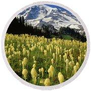 Bear Grass At Mt. Rainier - V Round Beach Towel