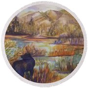 Bear In The Slough Round Beach Towel