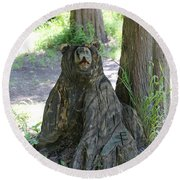 Bear In A Tree Round Beach Towel