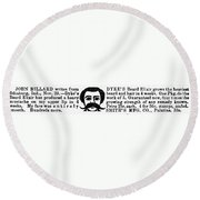 Beard Elixir Ad, 1889 Round Beach Towel