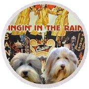 Bearded Collie Art Canvas Print - Singin In The Rain Movie Poster Round Beach Towel