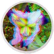 Bearded Iris Cultivar - Use Red-cyan 3d Glasses Round Beach Towel