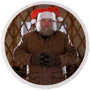 Bearded Man With Christmas Hat Round Beach Towel
