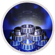 Bearings In Blue Round Beach Towel