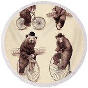 Bears On Bicycles Round Beach Towel
