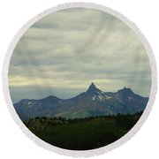 Beartooth Mountain Montana Round Beach Towel
