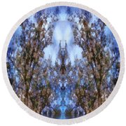 Beast In The Sacred Forest Round Beach Towel