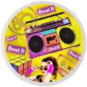 Beat It Round Beach Towel by Mo T
