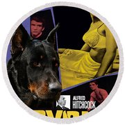 Beauceron Art Canvas Print - Psycho Movie Poster Round Beach Towel