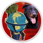 Beauceron Art Canvas Print - The Great Dictator Movie Poster Round Beach Towel