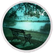 Beaufort South Carolina Surreal Ocean Inland Scene Round Beach Towel by Kathy Fornal