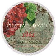 Beaujolais Nouveau 1 Round Beach Towel by Debbie DeWitt