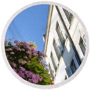 Windows With Flowers Round Beach Towel