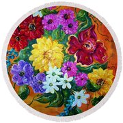 Beauties In Bloom Round Beach Towel
