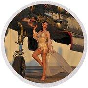 Beautiful 1940s Pin-up Girl Standing Round Beach Towel