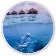 Beautiful Above And Below 2 Round Beach Towel