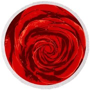 Beautiful Abstract Red Rose Illustration Round Beach Towel