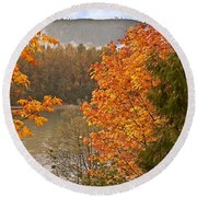 Beautiful Autumn Gold Art Prints Round Beach Towel