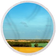 Beautiful Bay In A Desert Round Beach Towel